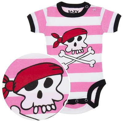 Lazy One Pink Pirate Onesie for Baby Girls
