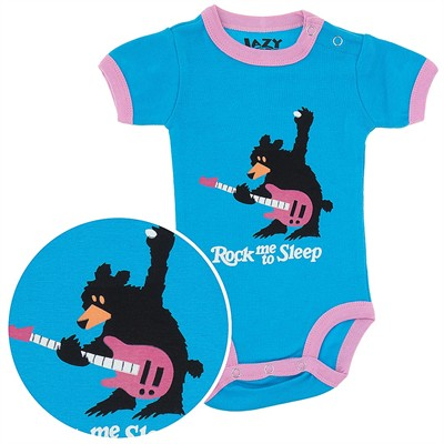 Lazy One Pink Rock Me to Sleep Onesie for Baby Girls