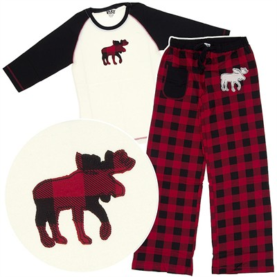 Lazy One Plaid Moose Cotton Pajamas for Juniors