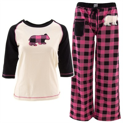Lazy One Pink Bear Plaid Pajamas for Juniors