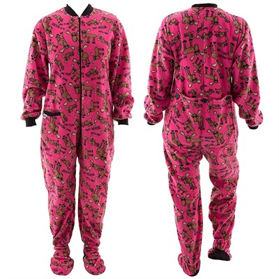 Lazy One Don't Moose With Me Pink Footed Pajamas for Adults