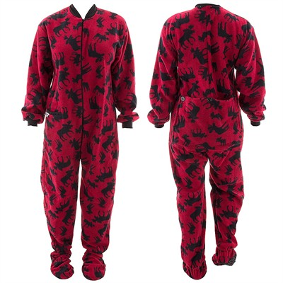 Lazy One Classic Moose Footed Pajamas for Adults