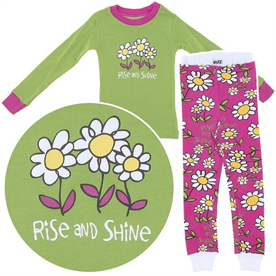 Lazy One Rise and Shine Cotton Pajamas for Toddlers and Girls