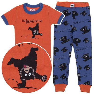 Lazy One Hy-Bear Active Short Sleeved Cotton Pajamas for Toddlers and Boys