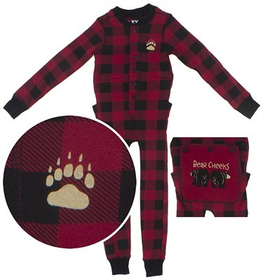Lazy One Red Check Cotton Union Suit for Toddlers and Kids