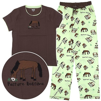 Lazy One Pasture Bedtime Horse Cotton Pajamas for Women