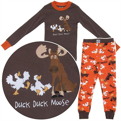 Lazy One Duck Duck Moose Cotton Pajamas for Boys