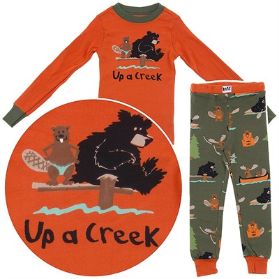 Lazy One Up a Creek Cotton Pajamas for Toddlers and Boys