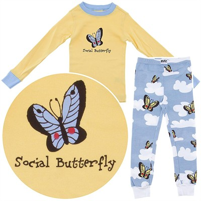 Lazy One Social Butterfly Cotton Pajamas for Toddler Girls