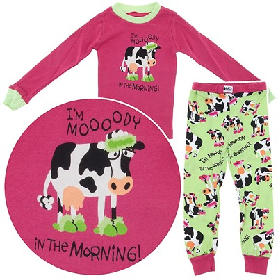 Lazy One I'm Mooody in the Morning Pajamas for Toddlers and Girls