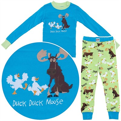 Lazy One Duck Duck Moose Cotton Pajamas for Toddlers and Girls