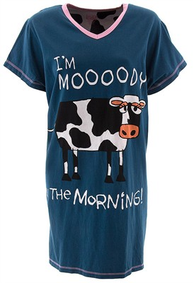 Lazy One Mooody in the Morning Cow Nightshirt for Women