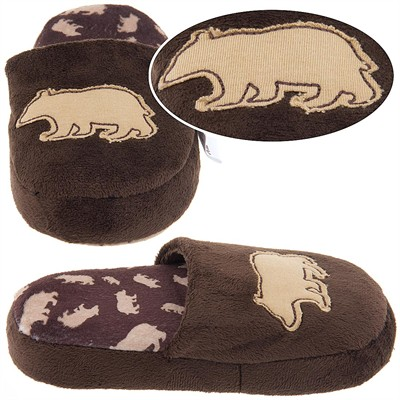 Lazy One Brown Bear Fuzzy Slippers for Boys