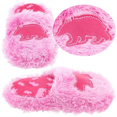 Lazy One Pink Fuzzy Bear Slippers for Girls