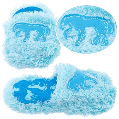 Lazy One Blue Fuzzy Horse Slippers for Girls