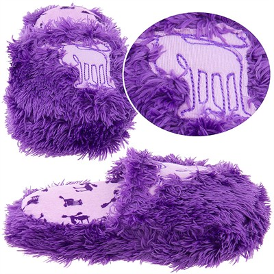 Lazy One Purple Fuzzy Moose Slippers for Girls
