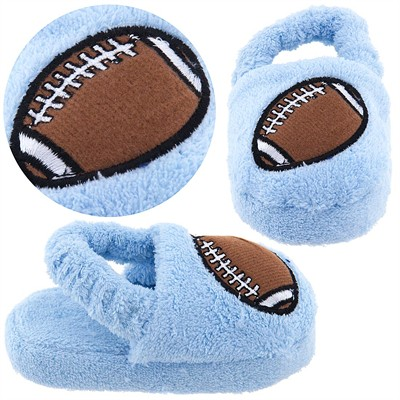 Light Blue Football Infant and Toddler Slippers for Boys