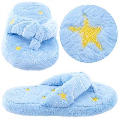 Light Blue Star and Cloud Thong Style Slippers for Girls