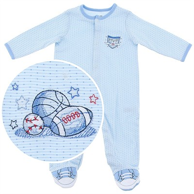 Little Me Cotton Sports Footed Sleeper for Baby Boys