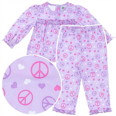 Little Me Purple Peace Pajamas for Toddler Girls