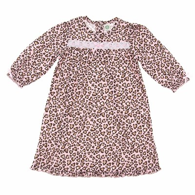 Little Me Pink Leopard Heart Nightgown for Toddler Girls
