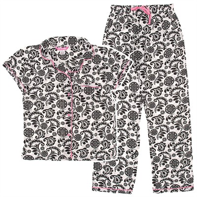 Black and White Paisley Cotton Pajamas for Women