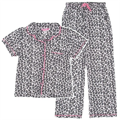 White and Gray Leopard Print Cotton Pajamas for Women