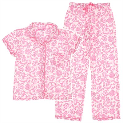 Light Pink Paisley Cotton Pajamas for Women