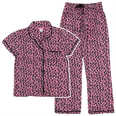 Pink and Gray Leopard Print Cotton Pajamas for Women