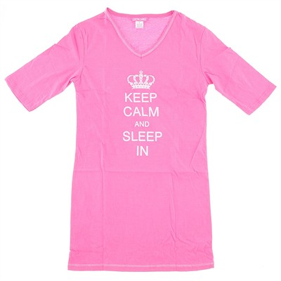 Pink Keep Calm Sleep in Nightshirt for Women