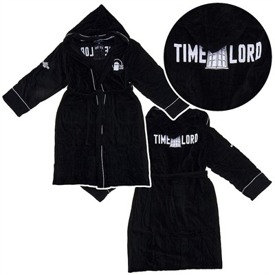 Dr. Who Tardis Black Hooded Terry Bath Robe for Men