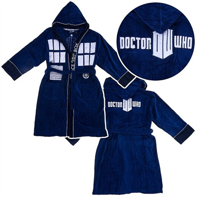 Dr. Who Tardis Blue Hooded Terry Bath Robe for Men
