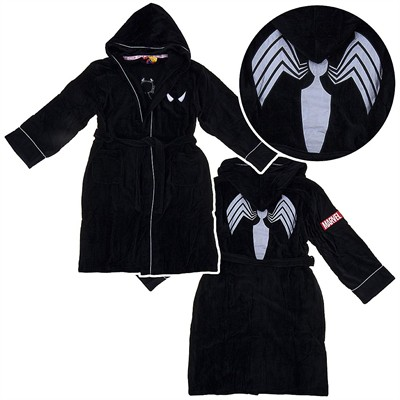 Spider-man Black Hooded Terry Bath Robe for Men