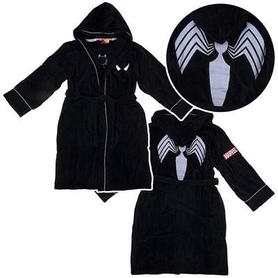 Spider-man Black Hooded Terry Bath Robe for Men
