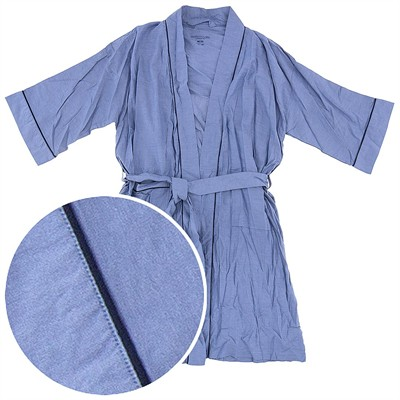 Blue Broadcloth Bathrobe for Men