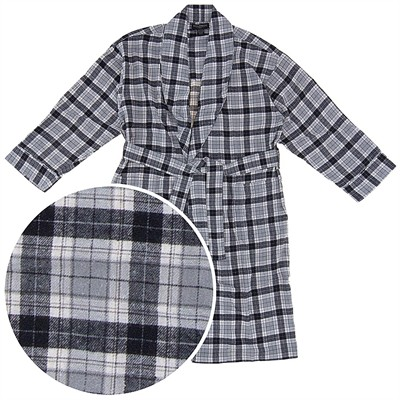 Black and Gray Plaid Flannel Bathrobe for Men