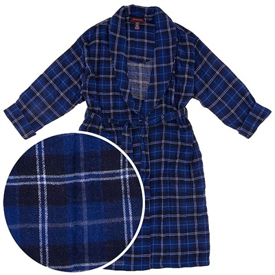 Navy and White Plaid Flannel Bathrobe for Men