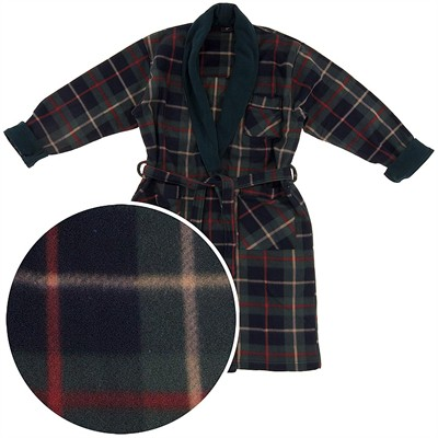 Green Plaid Fleece Bathrobe for Men