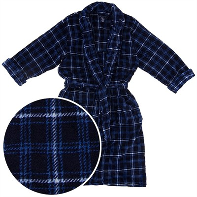 Navy Plaid Plush Bathrobe for Big Men