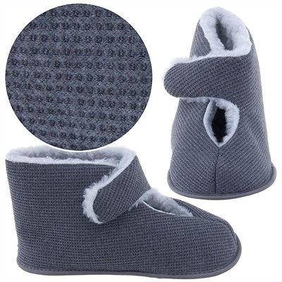 Gray Solid Bootie Slippers for Men