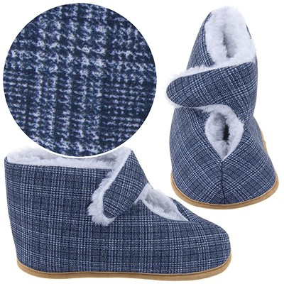 Gray Plaid Bootie Slippers for Men
