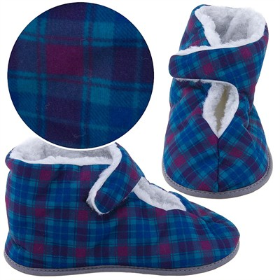 Turquoise Plaid Bootie Slippers for Men