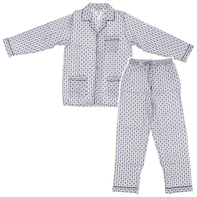 Gray and Blue Broadcloth Pajamas for Men