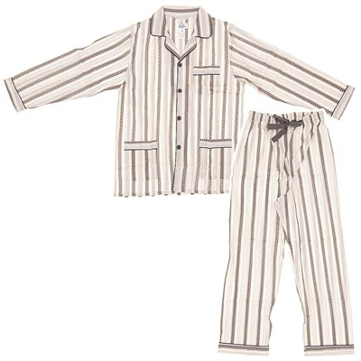 Gray and White Broadcloth Pajamas for Men
