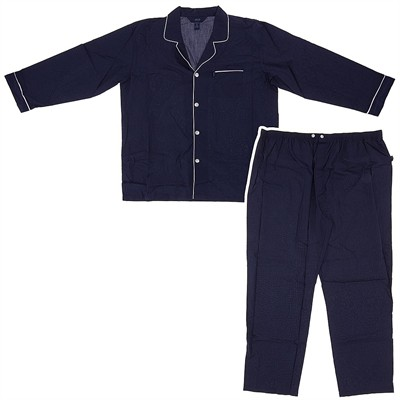 Dark Blue Broadcloth Pajamas for Men