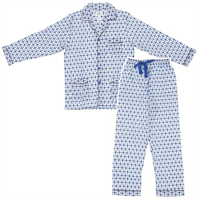 Light and Dark Blue Broadcloth Pajamas for Men