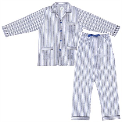 White and Blue Broadcloth Pajamas for Men