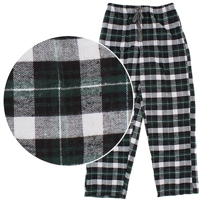 Green Plaid Flannel Lounge Pants for Men