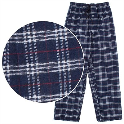 Navy and White Flannel Lounge Pants for Men