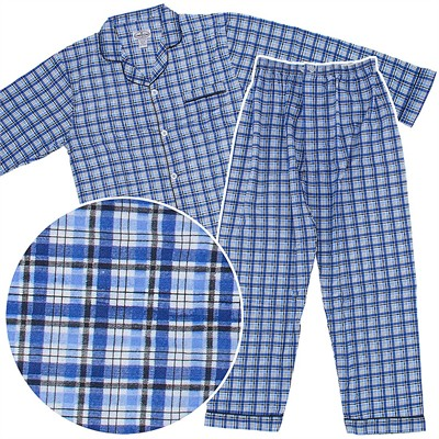 Comfort Zone Blue and Black Plaid Flannel Pajamas for Men